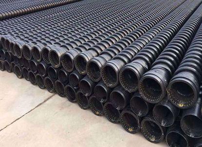 HDPE缠绕结构壁管B型管(克拉管)内表面光滑、外部为异型增强结构,管材标准长度6米,管内径范围为DN300-DN400, 产品指标均达到GB/T1942.2-2004 B型结构壁 管标准及PREN-13476欧洲标准要求. 具备热态缠绕成型熔锋质量高、安装性能优异、较好的柔韧性; HDPE可循环回收使用; 抗腐蚀、耐老化、使用寿命确保50年; 管内壁糙率低等特点.